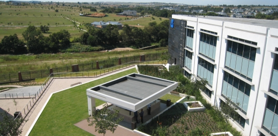 Accessible green roofs provide employees a refreshing retreat but also help attenuate and treat stormwater at the Group 5 HQ, Midrand